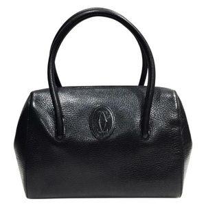 Cartier vintage black pebbled leather Boston bag